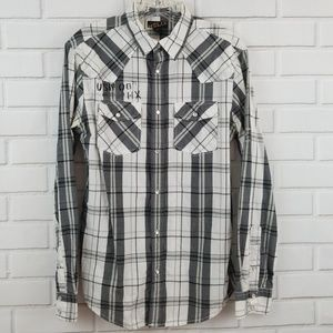 Helix Western Plaid Pearl Snap Button Down Shirt